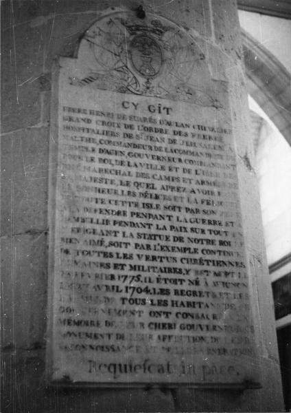 plaque funéraire, du frère Henri de Suares d' Aulan