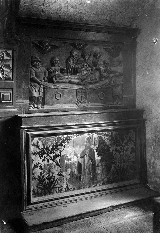 bas-relief : mise au tombeau, devant d'autel : saint Augustin bénissant