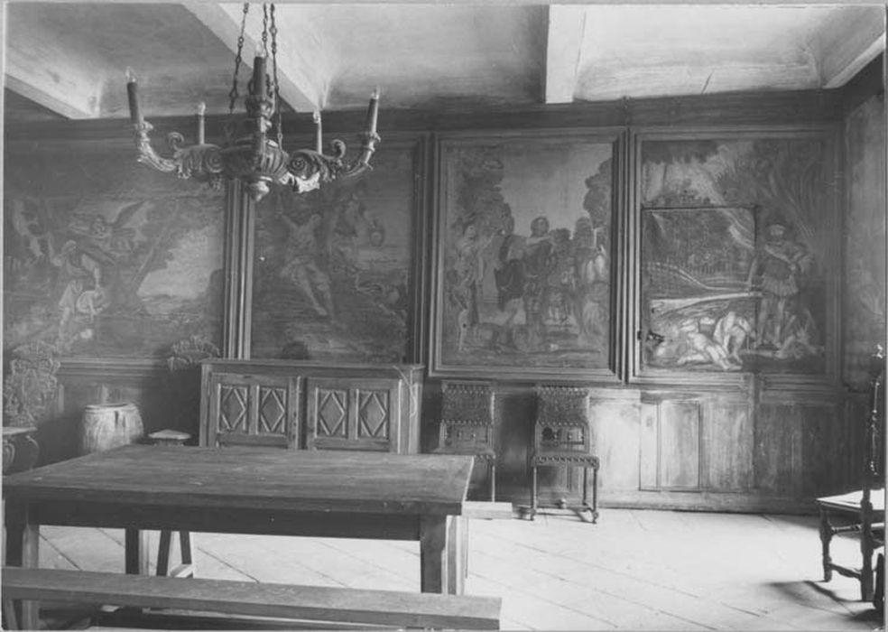 ensemble des peintures de la salle à manger (9 peintures, dessus-de-porte)