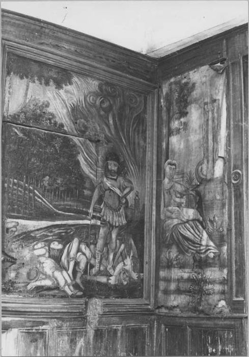 Peinture : femme se reposant au pied d'un arbre