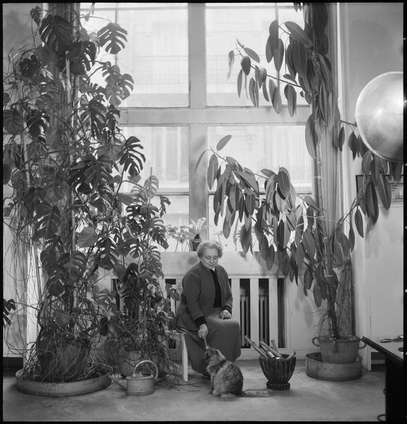 [Portrait de Sonia Delaunay assise jouant avec son chat]