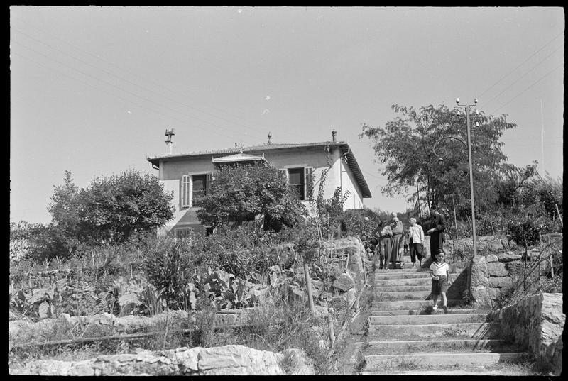 [Pablo Picasso, Romuald Dor de la Souchère, Françoise Gilot, Claude Picasso et des amis descendant l'escalier du jardin]