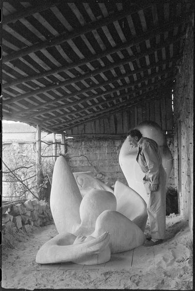 [Portrait de Henri-Georges Adam dans la cour de son atelier au milieu de ses oeuvres, avec 'La femme endormie' au premier plan]