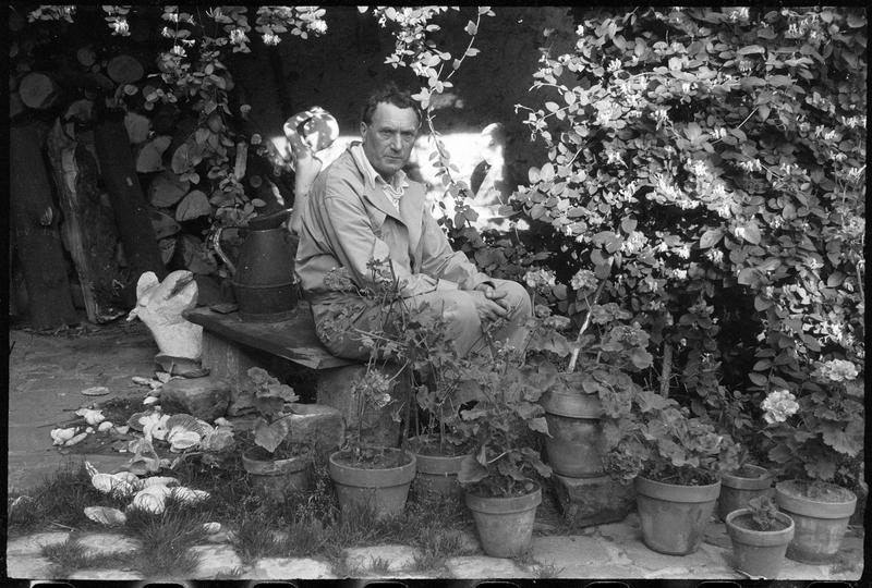 [Portrait de Henri-Georges Adam assis dans la cour de son atelier au milieu des plantes]
