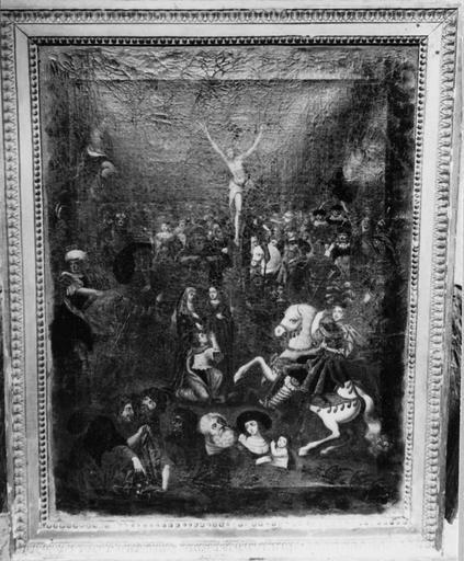 Tableau : La Crucifixion, huile sur toile, fin 16e siècle