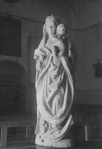 Statue : Vierge à l'Enfant, bois, traces de polychromie