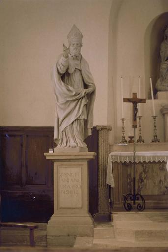 statue : saint Agnan, pierre polychrome, Ecole de Jean Dubois