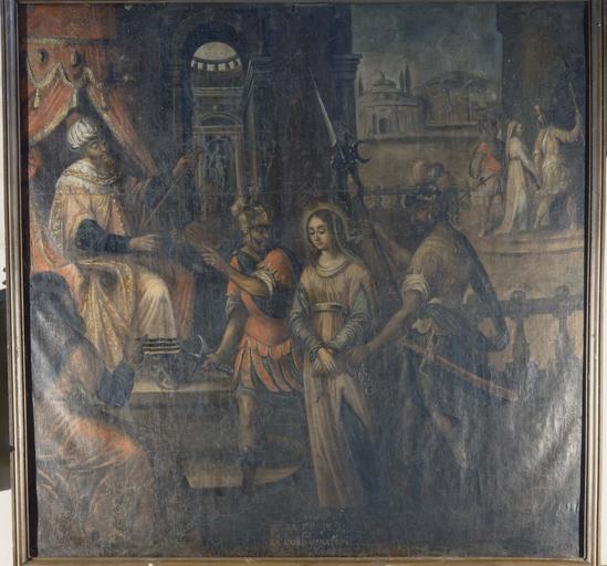 Pièce murale de la Tenture de la Vie de sainte Reine : Condamnation de sainte Reine et prison