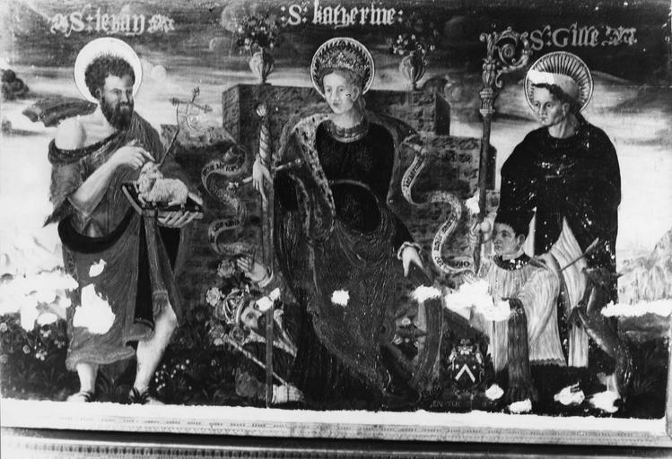 Tableau : saint Jean-Baptiste, sainte Catherine, saint Gilles et un donateur, panneau peint