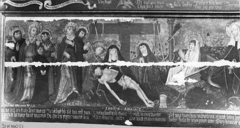 Tableau : Déposition de croix, panneau peint, sur fond doré, 15e siècle