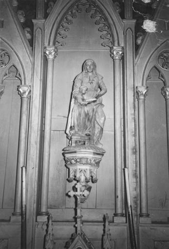 Groupe sculpté : L'Education de la Vierge, dans le retable