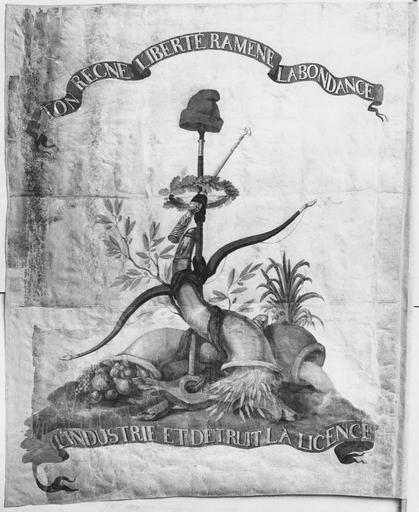Bannière de la fédération ou drapeau révolutionnaire, soie blanche, 1790