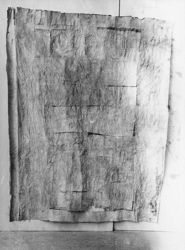 Bannière de la fédération ou drapeau révolutionnaire, soie blanche, 1790, envers avec feuilles de papier collées à même la soie (avant restauration)