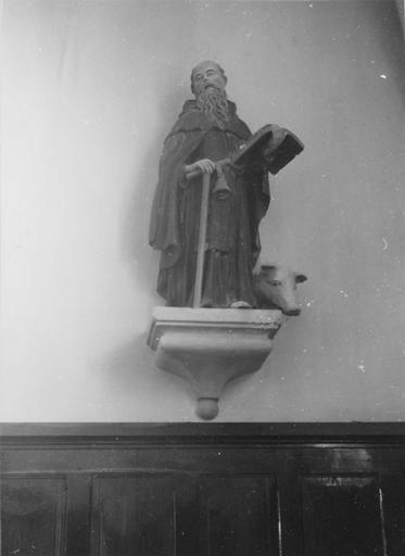 Statue : saint Antoine, pierre polychrome