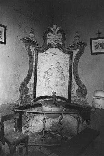 Fonts baptismaux et leur retable, décor de stuc polychrome, 1756