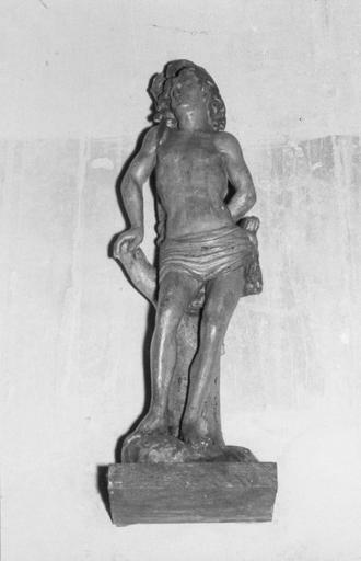 Statue : saint Sébastien, bois polychrome