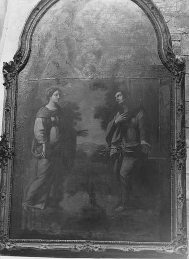 Tableau : la Visitation, huile sur toile, cadre en bois doré