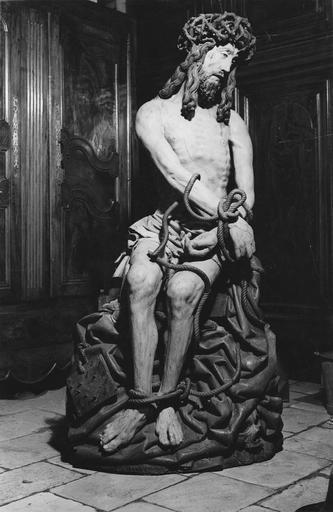 Statue : Christ aux liens, bois polychrome