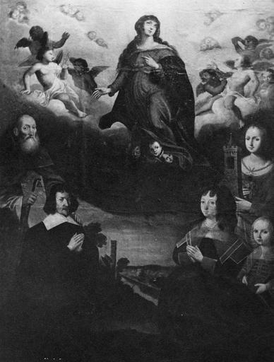 Tableau : Assomption avec Antoine Rousseau, Barbe Deslandes et leurs saints patrons, huile sur toile