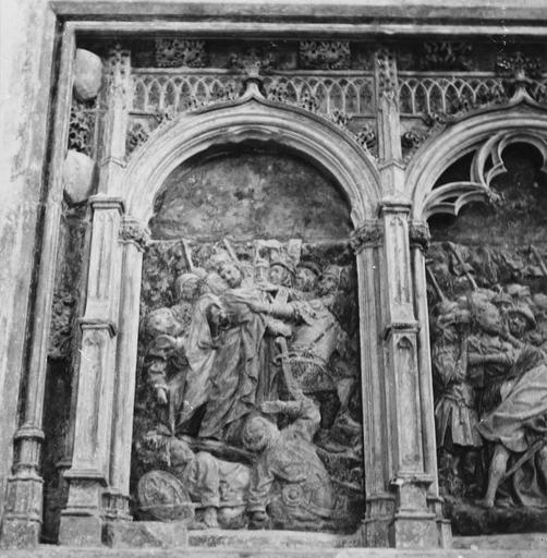 retable de la Passion, détail de L'Arrestation du Christ, pierre sculptée