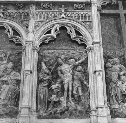 Retable de la Passion, détail de la Flagellation, pierre sculptée