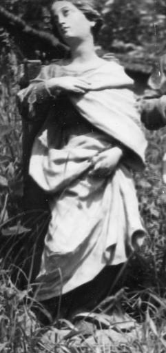 Groupe sculpté : sainte Barbe et sainte Catherine d'Alexandrie, bois polychrome