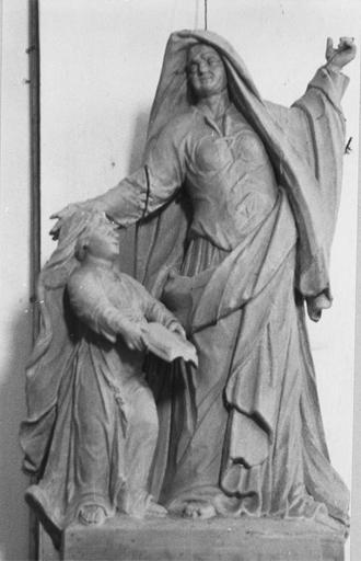 Groupe sculpté : sainte Anne et la Vierge ou Education de la Vierge, bois, 1724