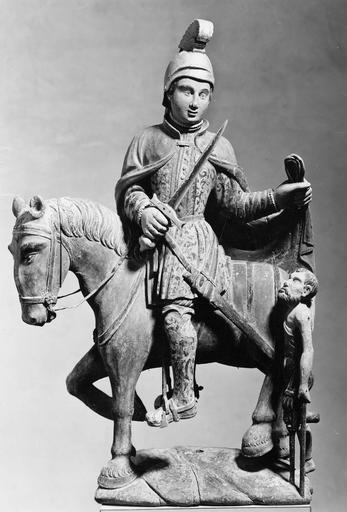 Groupe sculpté : La Charité de saint Martin, bois polychrome