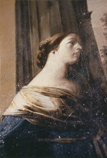 Tableau : La Madeleine aux pieds du Christ, détail du visage de la sainte, huile sur toile