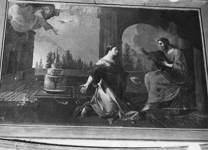 Tableau : La Madeleine aux pieds du Christ, huile sur toile
