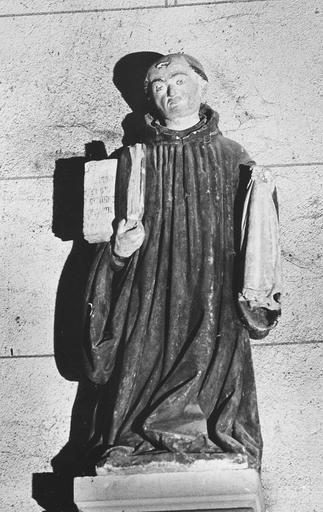 Statue : un saint abbé (saint Etienne de Muret ?), pierre polychrome