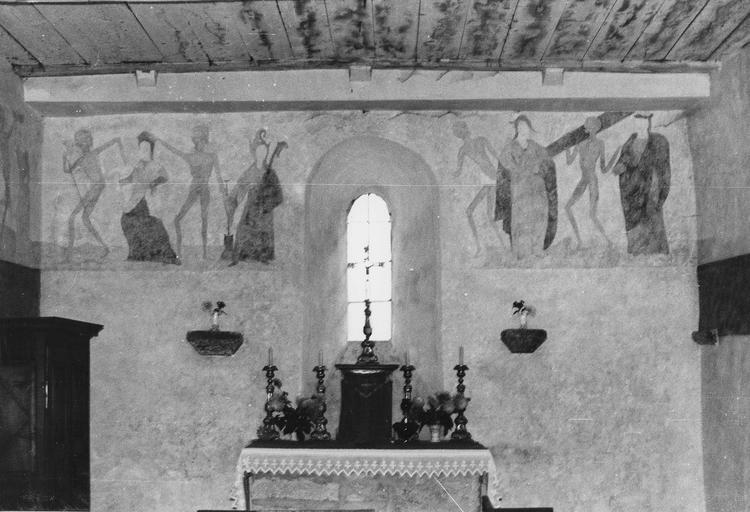 Peinture monumentale : Danse macabre, mur du chevet