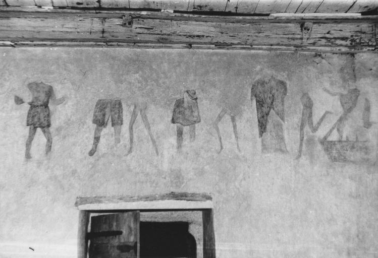 Peinture monumentale : Danse macabre, mur du porche