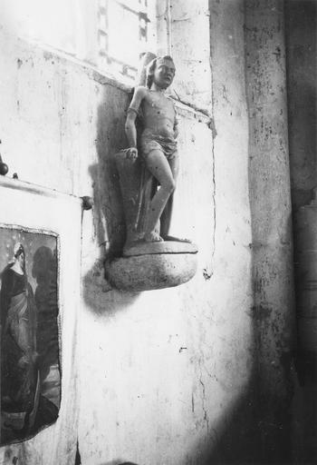 Statue : saint Sébastien, pierre polychrome