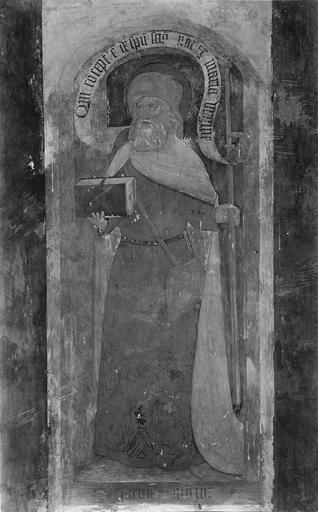 Ensemble du décor peint monumental : le Christ et les Apôtres, détail d'un apôtre