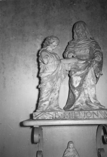 Groupe sculpté : l'Education de la Vierge, pierre