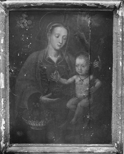 Tableau : Vierge à l'Enfant, pierre polychrome