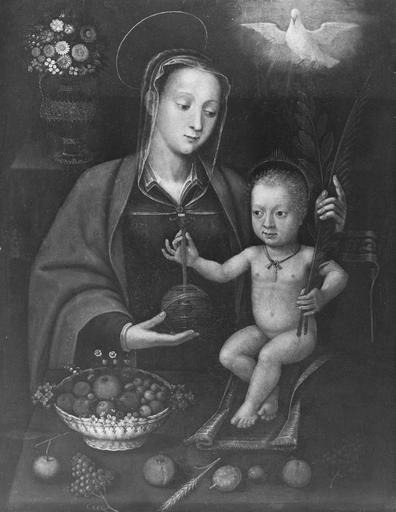 Tableau : Vierge à l'Enfant, panneau peint