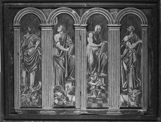 Tableau (diptyque) : Translation des reliques de saint Vorles de Marcenay à Châtillon, détail des Evangélistes, panneau peint