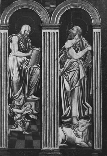 Tableau (diptyque) : Translation des reliques de saint Vorles de Marcenay à Châtillon, détail des Evangélistes : saint Matthieu et saint Luc, panneau peint