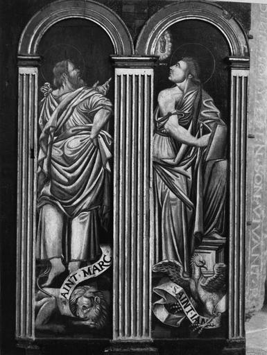 Tableau (diptyque) : Translation des reliques de saint Vorles de Marcenay à Châtillon, détail des Evangélistes : saint Marc et saint Jean, panneau peint