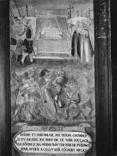 Tableau : Scène de la vie de saint Vorles : Infirmité, huile sur toile