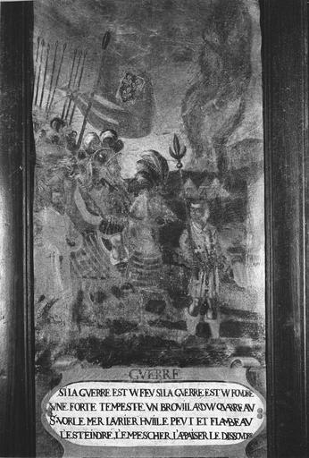 Tableau : Scène de la vie de saint Vorles : Guerre, huile sur toile
