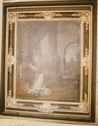 Tableau : saint Charles Borromée en prière, huile sur toile et son cadre en bois sculpté, peint et doré
