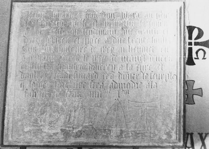 Inscription commémorative d'une fondation par Jean Simad, pierre gravée, 1556