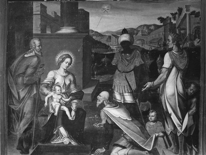 Tableau : L'Adoration des Mages, panneau peint