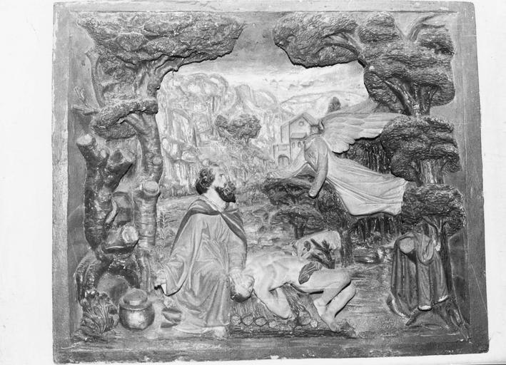 Bas-relief : Le Sacrifice d'Abraham, pierre polychrome