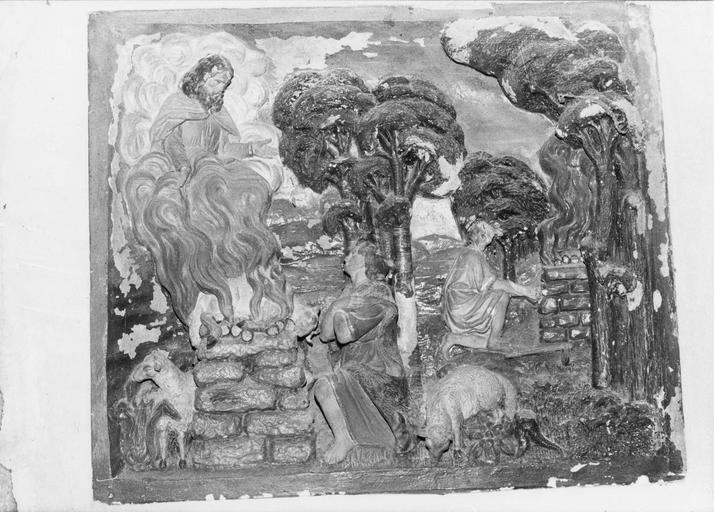 Bas-relief : sacrifice d'Abel, pierre taillée et polychrome