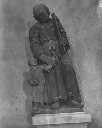 Groupe sculpté : saint Joseph et l'Enfant Jésus, pierre polychrome, fin 16e siècle