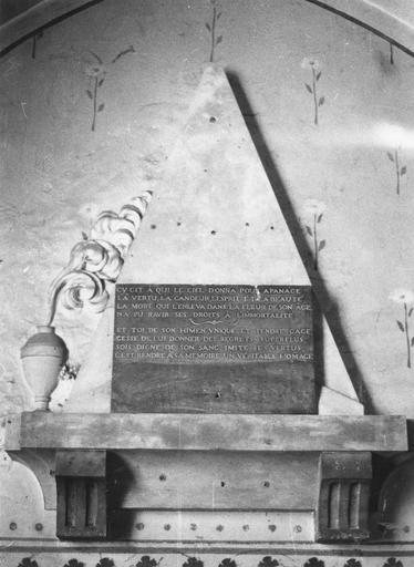Cénotaphe de Claude-Bernarde Berbis de Longecourt, pierre et marbre, 1782